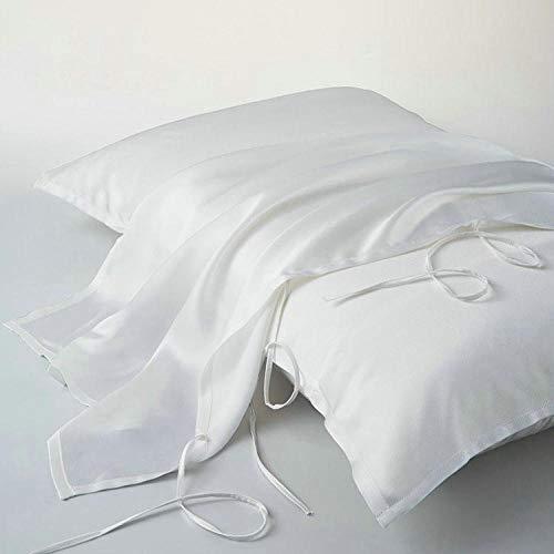 Pillowcase 16 Mumi Pure Color Silk Pillowcase Pillowcase 4 35Cm Lace 100 Mulberry Silk-Original White_52*74Cm*1