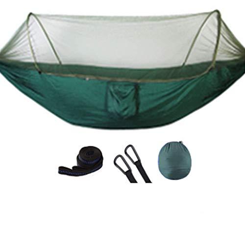 EQVUDJT Hamaca Jardin Exterior, Outdoor Mosquito Net Parachute Hammock Portable Camping Hanging Sleeping Bed High Strength Sleeping Swing 250x120cm for Patio Yard Garden Dark Green
