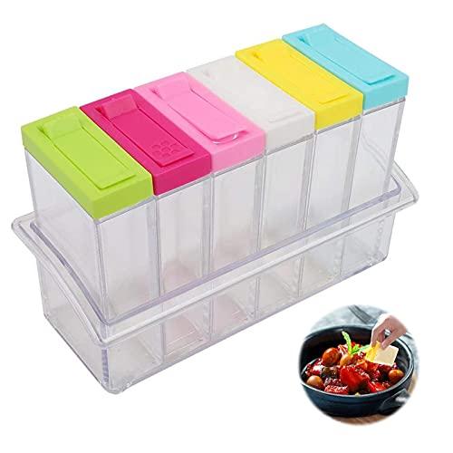 Plastik Gewürzdosen 6-Teiliges Set Gewürzdose Gewürzbehälter Gewürzdosen Gewürzbehälter Kunststoff Gewürzdosen Gewürzdosen Set Kunststoff Für Aufbewahrung Küche Salz Pfeffer Gewürze