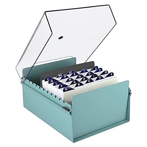 Acrimet Fichero Tarjetero Organizador de Escritorio con Divisor y Indice A-Z incluso (Base de Metal Resistente Color Verde y Tapa de Plástico Transparente) (Índice A-Z 205mm de ancho x 138mm de alto)