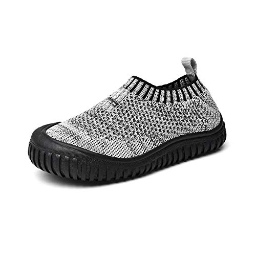 Runto Kinder Hausschuhe, Unisex Anti-Rutsch Sohle Kleinkinder Schuhe Baby Slipper Jungen Mädchen-grau 27