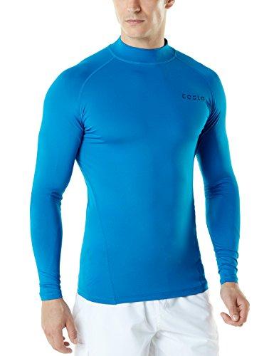 TSLA Men's UPF 50+ Long Sleeve Rash Guard, UV/SPF Quick Dry Swim Shirt, Water Surf Swimming Shirts, Unique(msr12) - Black & Charcoal, X-Large