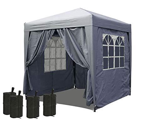 QUICK STAR Pop-Up-Pavillon 2,5 x 2,5 m Smoky Grau mit 4 Easy-Klett Seitenwänden und 4 Fußgewichten
