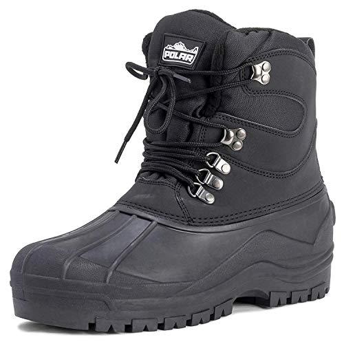 Mens Snow Waterproof Duck Hiking Bean Hiker Walking Short Ankle Boots - Black - US10/EU43 - YC0439