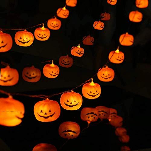 20 piezas de Luces de calabaza, luz de Cadena de Halloween de 9.8 pies, Luces navideñas para decoración al aire Libre