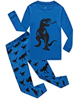 Family Feeling Dinosaur Little Boys Long Sleeve Pajamas Sets 100% Cotton Pyjamas Toddler Kids Pjs Size 4T Blue