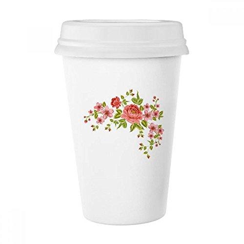 Rote Rosen Muster Blumen Pflanzen Rose Bush Classic Tasse Weiß Keramik Keramik Tasse Kaffee Milch Tasse Geschenk 350ml