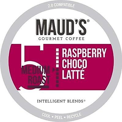 Maud's Raspberry Chocolate Coffee (Raspberry Choco Latte), 50ct. Recyclable Single Serve Raspberry Chocolate Coffee Pods – 100% Arabica Coffee California Roasted, Raspberry Chocolate K Cups Compatible