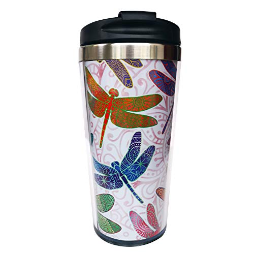 Hasdon-Hill Dragonfly Mandala Travel Mugs With Wrap And Black Lid, Stainless Steel Coffee Mug For...