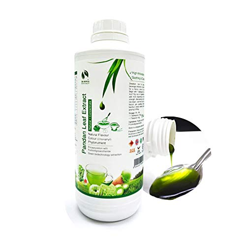 Standardized Plant Extract Vanilla of the East, Natural Asian Gourmet Baking Ingredient, Natural Flavor, Natural Color Chlorophyll of Pandan Leaf Extract Concentrate for Bakery & Beverage (1000g)