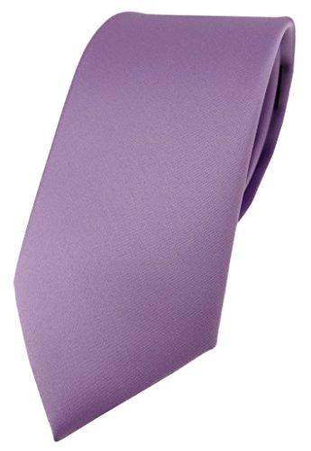 TigerTie Designer Krawatte in dunkles flieder einfarbig Uni - Tie Schlips