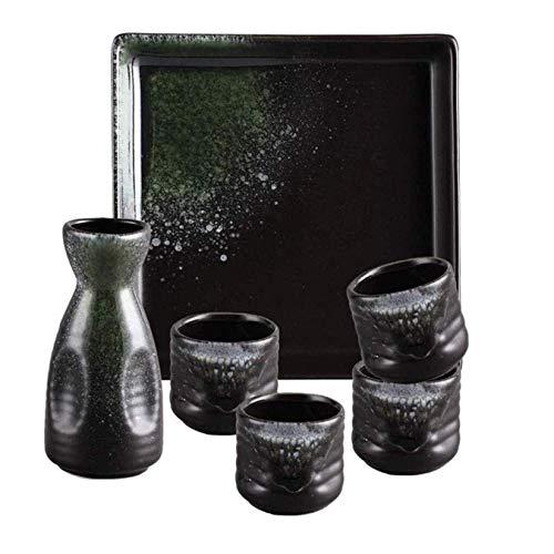 FHKBK Ceramic Sake Set with Tray, 6 Piece Color Ice Cracked Smooth Glaze Craft Sake Cup Set for Cold/Warm/Shochu/Tea, Sutiable for Dishwasher