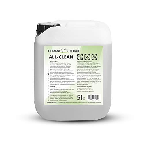 TerraDomi All-Clean, 5 L, Reinigungsmittel für hartnäckige Verschmutzungen, wirksamer Power-Reiniger für Terrasse, Dach, Haus, Hof & Garten, vielseitige Anwendung