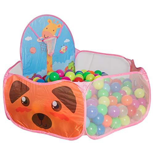Alberca de Pelotas Plegable Papubaby con canasta. Baby Play Tent (Pelotas no incluidas)(Rosa)