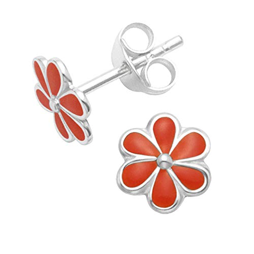 Heather Needham Sterling Silver Red Enamel flower Stud Earrings - SIZE: 7mm (1/4 Inch) -Pretty red earrings Gift Boxed END OF LINE LOWER PRICE.5578RED