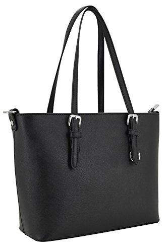 Damen Handtasche aus hochwertigem Saffiano Lederimitat, klassisch mit mehreren Fächern und langem Schulterriemen