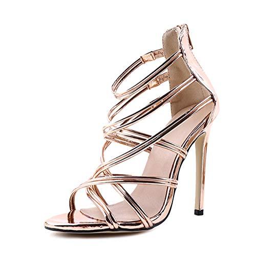Minetom Damen Sandaletten High Heels Stiletto Reißverschluss Sexy Open Toe Hohl Kreuzgurt Sandalen Abend Party Braut Schuhe Gold 39 EU