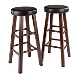 """Marta Set of 2 Bar Stool with Dark Brown PU Leather Cushion with Antique Walnut Solid Wood Legs Fully assembled stands at 13.58""""W x 13.58""""D x 30.31""""H Perfect for any room in the house Fully Assembled Seat diameter is 13"""" with cushion of 2.30"""" thick"""