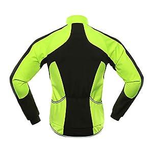 BERGRISAR Chaqueta de Ciclismo Softshell de Invierno para Hombre Cortavientos Resistente al Agua Térmica de Forro Polar Bicicletas de Abrigo BG011 - verde - Medium