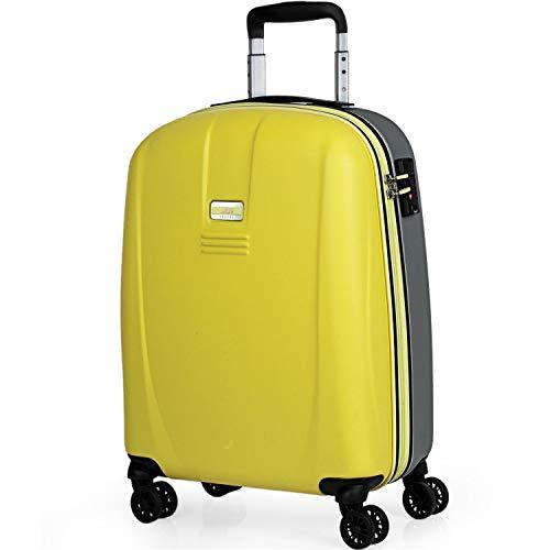 JASLEN - Maleta Pequeña de Viaje Cabina 55x40x20 4 Ruedas Trolley ABS. Equipaje de Mano. Rígida Fuerte Duradera y Ligera. Candado TSA Marca. 56550, Color Amarillo-Plata