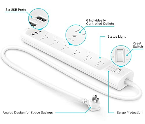Kasa Smart Plug Power Strip HS300, Surge Protector with 6 Individually Controlled Smart Outlets and 3 USB Ports, Works with Alexa & Google Home, No Hub Required