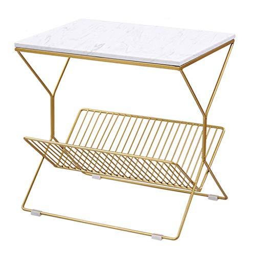 KST Bijzettafel, marmer ijzer, vierkante salontafel, geschikt voor woonkamer, salontafel, balkon, salontafel, slaapkamer, nachtkastje