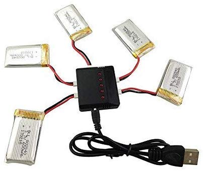 Fytoo 1pcs 5 in1 Lipo Battery Charger & 5Pcs 3.7V 600mAh Battery for Syma X5C X5C-1 X5A X5 X5SC X5SW H5C V931 S5C S5W S5C S5W SS40 FQ36 T32 T5W H42 CW4 Aircraft Helicopter Accessories …