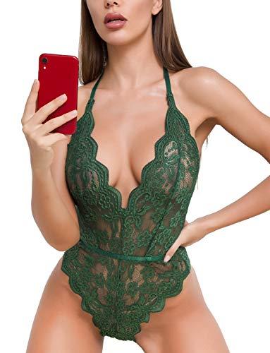 Spitze Bodysuit für Frauen Sexy Wimpern Teddy Valentinstag Dessous Naughty Negligee Bodysuit - Grün - Small