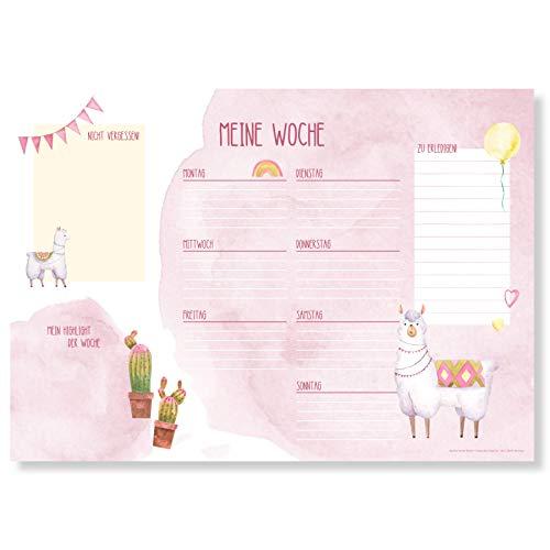 Wochenplaner Block A3 (25 Blatt) - Schreibtischunterlage mit To Do Liste - Wochen Planer aus Papier als Schreibtisch Unterlage - Weekly Planner Undatiert - Schreibunterlage mit Wochenplan - Alpaka