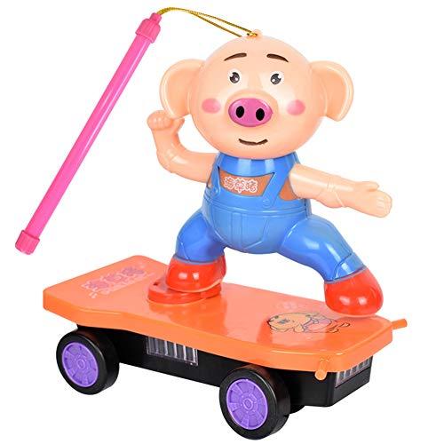 xMxDESiZ Licht-Musik-Skateboard-Laterne-Kindspielzeug-Geschenk der elektrischen netten Karikatur-Schwein-LED