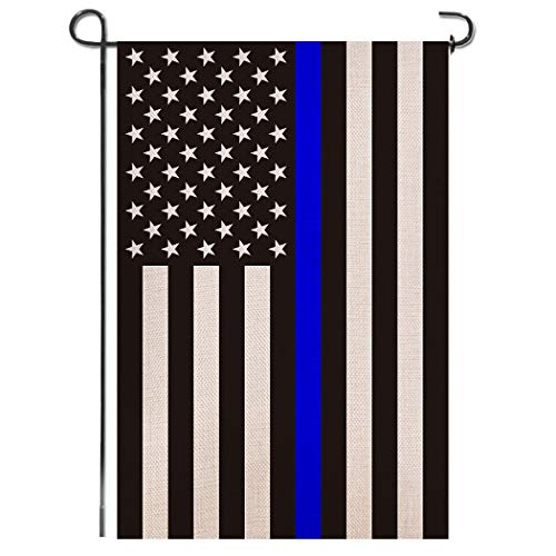 Shmbada USA Thin Blue Line Burlap Garden Flag - Black White and Blue Stripe American Police Flag Honoring Law Enforcement Officers - Premium Double Sided Outdoor Yard Lawn Small Decor - 12 x18 Inch