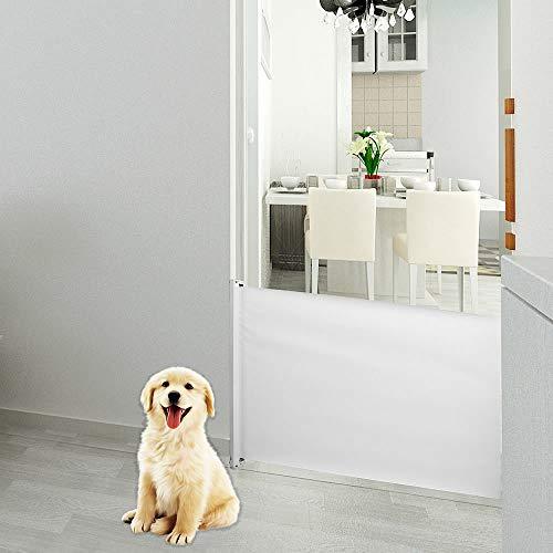 Melko Türschutzgitter für Haustiere, 82 cm hoch,ausziehbar, 115cm lang, weiß, ideales Schutzgitter