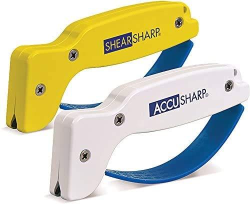 AccuSharp Knife Sharpener & ShearSharp Scissor Sharpener Combo Pack, Knives and Tools Sharpening, Machetes, Kitchen Shears, Axes, Double Edge Blades, Sharpeners