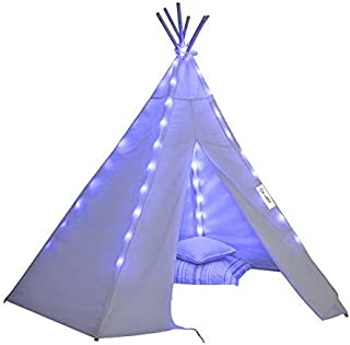 Porpora Indoor Indian Playhouse Toy Teepee Play Tent for Kids Toddlers Canvas with Carry Case with Lights, White