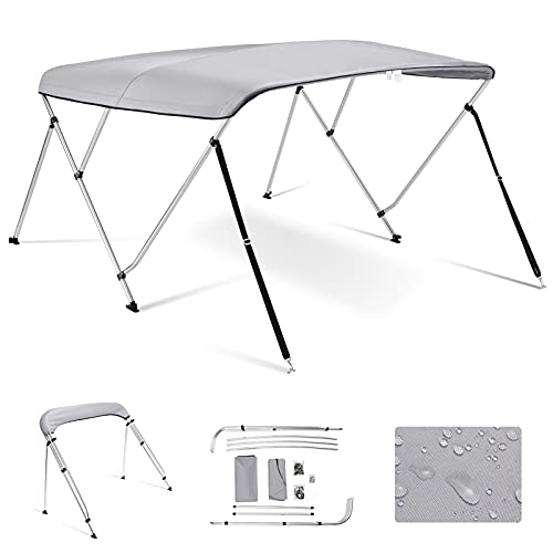 Kohree 3 Bow Bimini Top Boat Cover with Rear Support Pole and with a set of Aluminum Frame Mounting Hardwares 73'-78' (Grey)