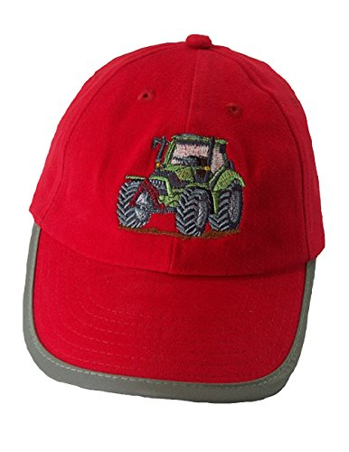 Zintgraf Rote Security Baseball Kappe Sicherheits Cap grüner Traktor graue Felgen Stickerei (52-54cm)