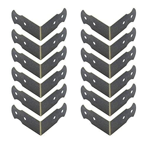 Antrader Metal Corner Protector L Shaped Decorative Furniture Case Box Cover Corner Guards Pack of 12