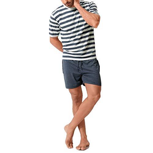 HIS Herren gestreifter kurzer Pyjama, Schlafanzug, sehr weich | 1er Pack (48/50, Navy / Cream gestreift)