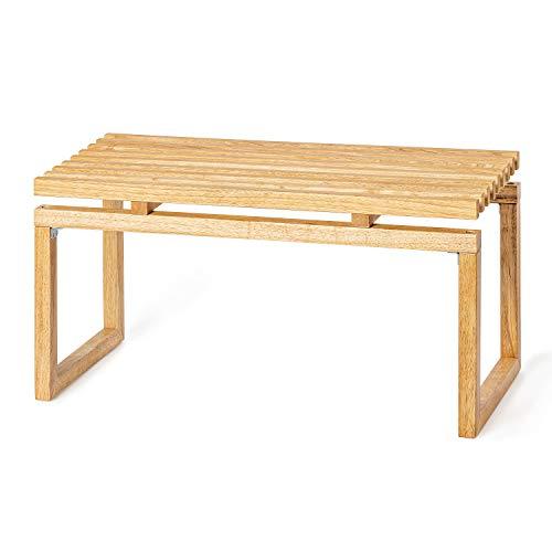 Deliano - Banco de madera estilo Bauhaus maciza, con espacio de almacenamiento de 90 cm de ancho