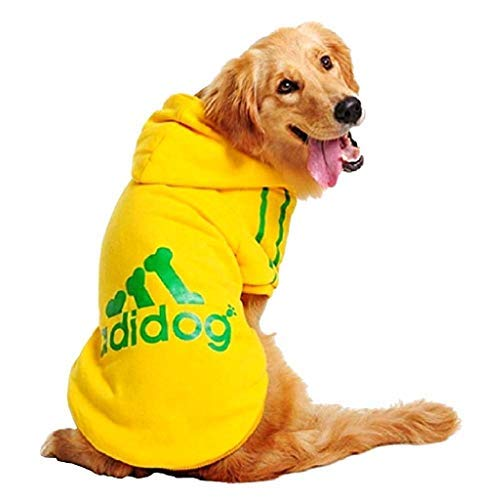 Legisdream Felpa Cane Animale con Cappuccio con Dog Verde di Colore Giallo Abbigliamento per Cani Taglia S