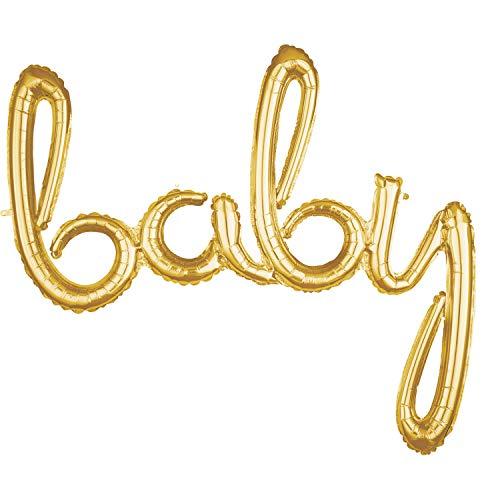 amscan 10132886 3669011 Folienballon Wort Baby, Gold