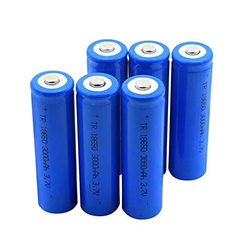 WSXYD Batería De Litio Puntiaguda 18650 3.7v 3000mah, Batería Recargable De Carga De Iones De Litio para Linterna 6pcs