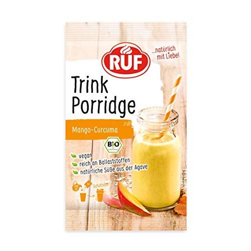 RUF Bio Trink-Porridge • Smootie und gemahlene Haferflocken Mango-Curcuma • zuckerfrei und vegan, 13er Pack (13 x 50 g)