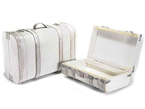 Juego de dos baúles porta objetos en forma de maleta vintage organizador para la casa decoración para escaparates y tiendas