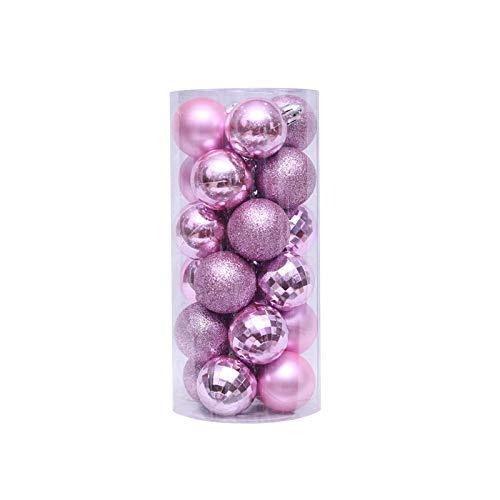 24pcs 4cm bola plástica del color de los ornamentos, de tratamiento de galvanoplastia, brillante y hermoso, bolas de Navidad Decoraciones de Navidad for el hogar pendiente del árbol ( Color : Pink )
