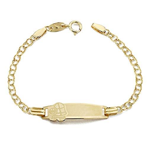 Pulsera Oro 9K Esclava Bebé 13cm. Doble Cadena Detalle Chapa Tortuga Cierre Reasa - Personalizable - Grabación Incluida En El Precio