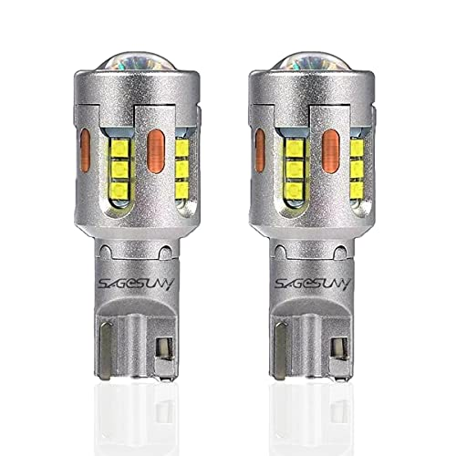 SageSunny Ampoules T15 W16W LED Feux de Recul CSP 19SMD 6000K Blanche T10 T15 T16 Universal SUPER CANBUS 1900lm Pour Remplacer Ampoules de Clignotant ou Des Veilleuses à Filament- Garantie 2Ans