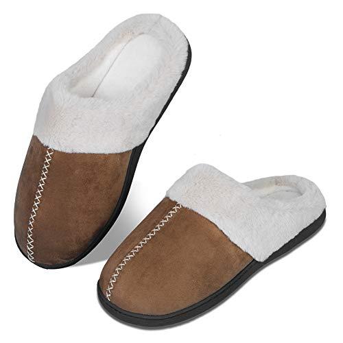 WateLves Pantofole Invernali da Uomo, in Memory Foam, Calde, comode, in Peluche, Antiscivolo, per Interni ed Esterni(szlb.Marrone,42/43)