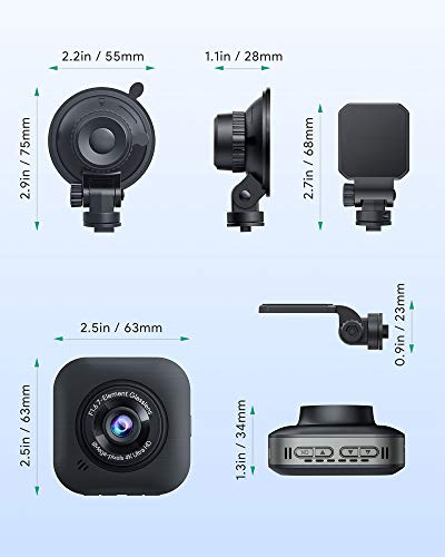 AUKEY 4K Dash Cam 3840 x 2160P WiFi Car Camera with Supercapacitor and 6-Lane Lens Dash Camera for Cars with HDR, Loop Recording, G-Sensor, Motion Detection and 2 Ports USB Car Charger
