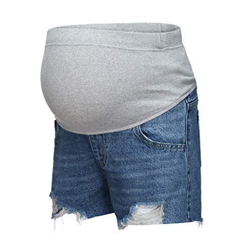 QinMMROPA Pantalones Cortos Vaqueros para Maternidad, premamá Jeans Cortos Vaqueros Rotos Mujer Embarazada Boyfriends Shorts